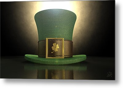 Green Leprechaun Shamrock Hat Metal Print