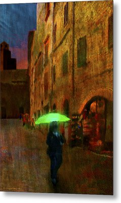 Green Umbrella Metal Print by Patrick J Osborne