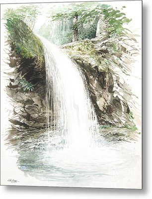 Metal Print featuring the painting Grotto Falls by Bob  George