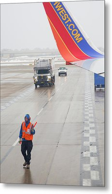 Ground Crew Worker At Chicago Airport Metal Print