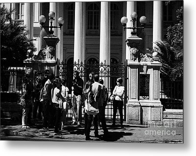 guided tour group outside the former national congress building Santiago Chile Metal Print by Joe Fox