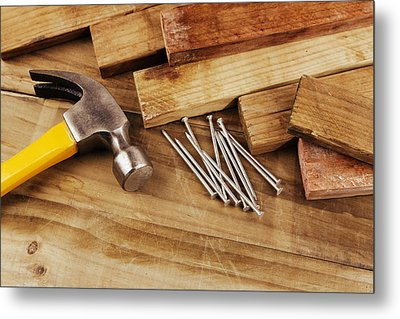 Hammer And Nails  Metal Print by Les Cunliffe