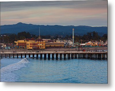 Harbor And Municipal Wharf At Dusk Metal Print by Panoramic Images