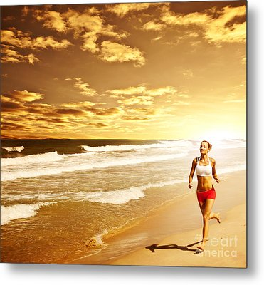 Healthy Woman Running On The Beach Metal Print by Anna Om