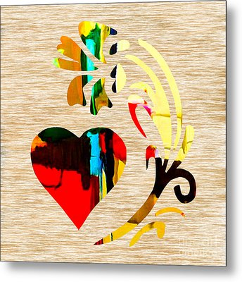 Heart And Flowers Metal Print by Marvin Blaine