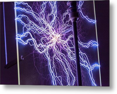 High Voltage Electrical Discharge Metal Print by David Parker