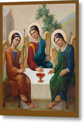 Metal Print featuring the painting Holy Trinity - Sanctae Trinitatis by Svitozar Nenyuk