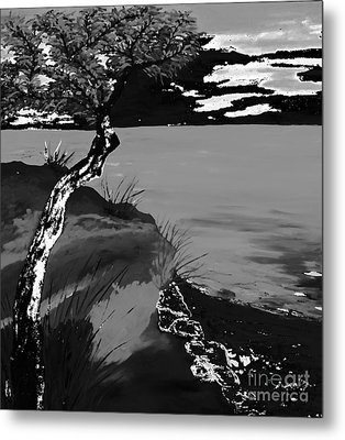 Horizon In Black And White Metal Print by Loredana Messina