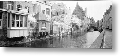 Houses Along A Channel, Bruges, West Metal Print by Panoramic Images