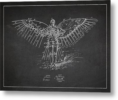 Icarus Flying Machine Patent Drawing Front View Metal Print by Aged Pixel