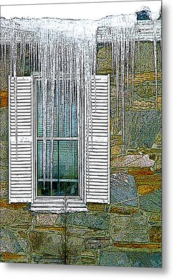 Ice By The Window Metal Print by Nancy Griswold