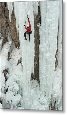 Ice Climber Ascending At Ouray Ice Metal Print by Howie Garber