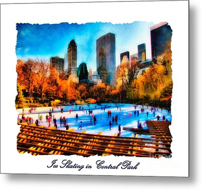 Ice Skating In Central Park Metal Print