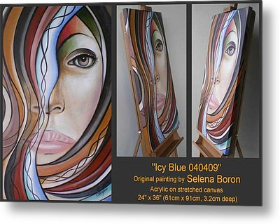 Metal Print featuring the painting Icy Blue 040409 by Selena Boron