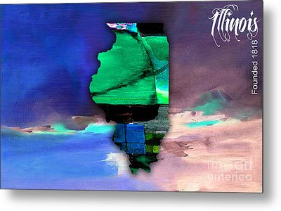 Illinois Map Watercolor Metal Print by Marvin Blaine