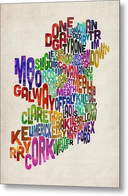 Ireland Eire County Text Map Metal Print by Michael Tompsett