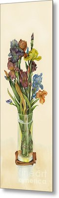 irises in Vase Metal Print