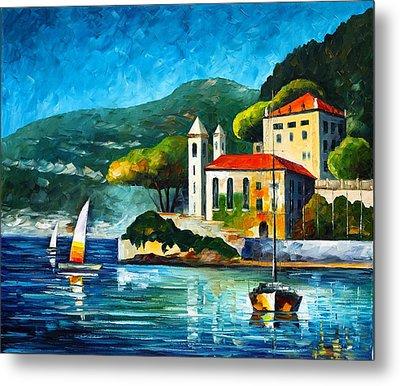 Italy Lake Como Villa Balbianello Metal Print by Leonid Afremov