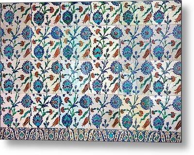 Iznik Ceramics With Floral Design Metal Print