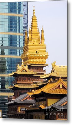 Jin An Temple Shanghai Metal Print by Charline Xia