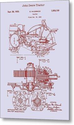 John Deere Tractor Patent 1933 Metal Print