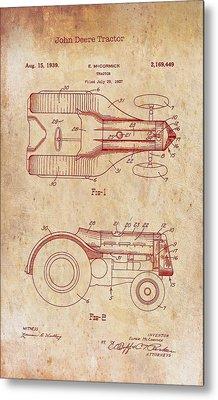 John Deere Tractor Patent 1939 Metal Print