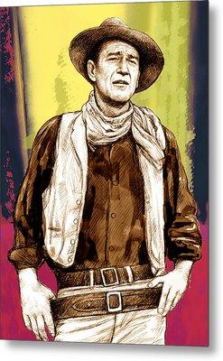 John Wayne Stylised Pop Art Drawing Potrait Poser Metal Print by Kim Wang