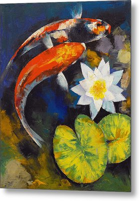Koi Fish And Water Lily Metal Print by Michael Creese