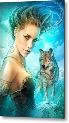 Lady Wolf Metal Print by Shannon Maer