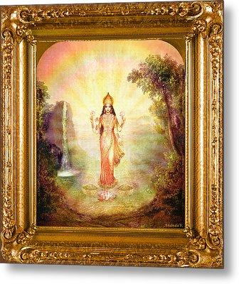 Lakshmi With The Waterfall Metal Print