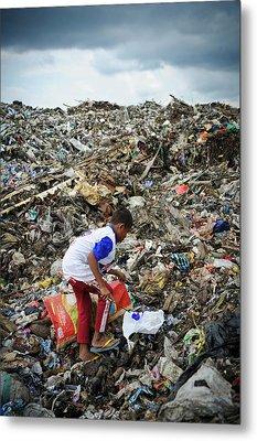 Landfill Scavenging Metal Print