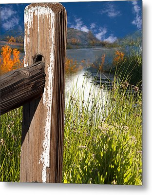 Landscape With Fence Pole Metal Print by Gunter Nezhoda