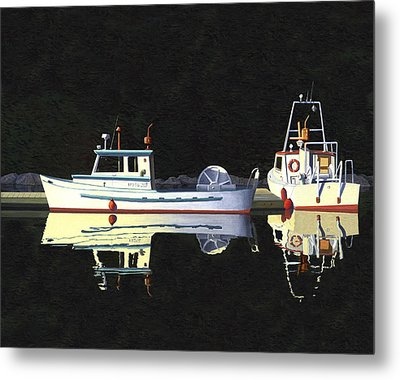 Last Light  Island Moorage Metal Print