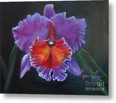 Metal Print featuring the painting Lavender Orchid by Jenny Lee
