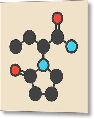 Levetiracetam Epilepsy Drug Molecule Metal Print by Molekuul
