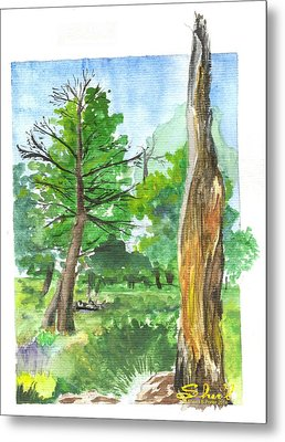Metal Print featuring the painting Lightening Strike Tree by Sherril Porter