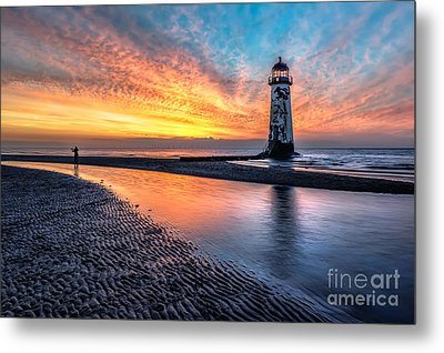 Lighthouse Sunset Metal Print by Adrian Evans