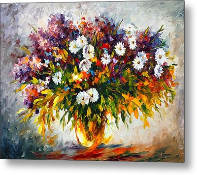 Lilac And Camomiles Metal Print by Leonid Afremov