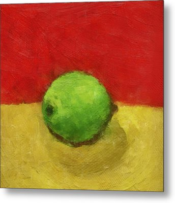 Lime With Red And Gold Metal Print by Michelle Calkins
