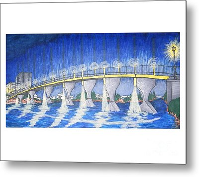 Lit Bridge Metal Print