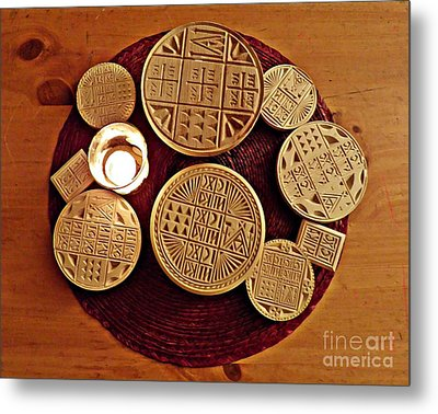 Liturgical Bread Stamps Metal Print by Sarah Loft