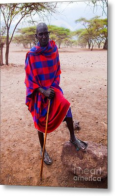 Maasai Man Portrait In Tanzania Metal Print by Michal Bednarek