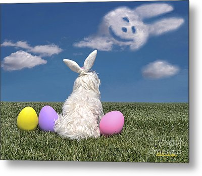 Maltese Easter Bunny Metal Print
