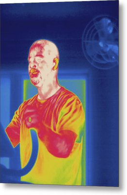 Man Exercising, Thermogram Metal Print by Science Stock Photography