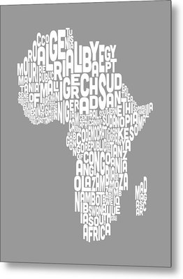 Map Of Africa Map Text Art Metal Print by Michael Tompsett