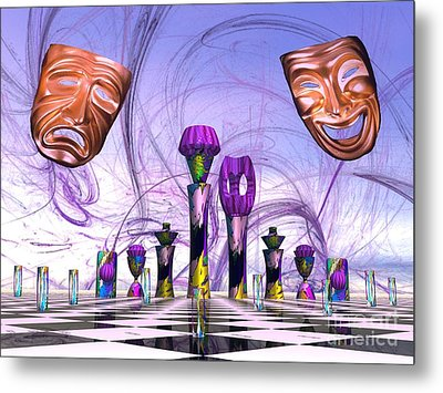 Mardi Gras Chess Metal Print
