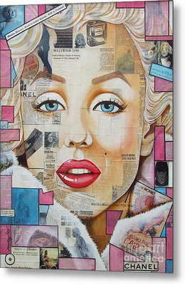 Marilyn In Pink And Blue Metal Print by Joseph Sonday