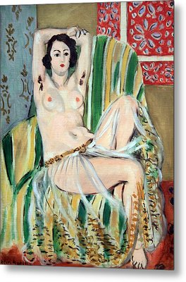 Matisse's Odalisque Seated With Arms Raised In Green Striped Chair Metal Print by Cora Wandel