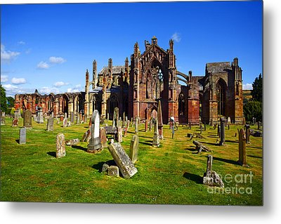 Metal Print featuring the photograph Melrose Abbey Scotland by Craig B