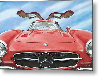 Mercedes Gullwing Metal Print by Rod Seel